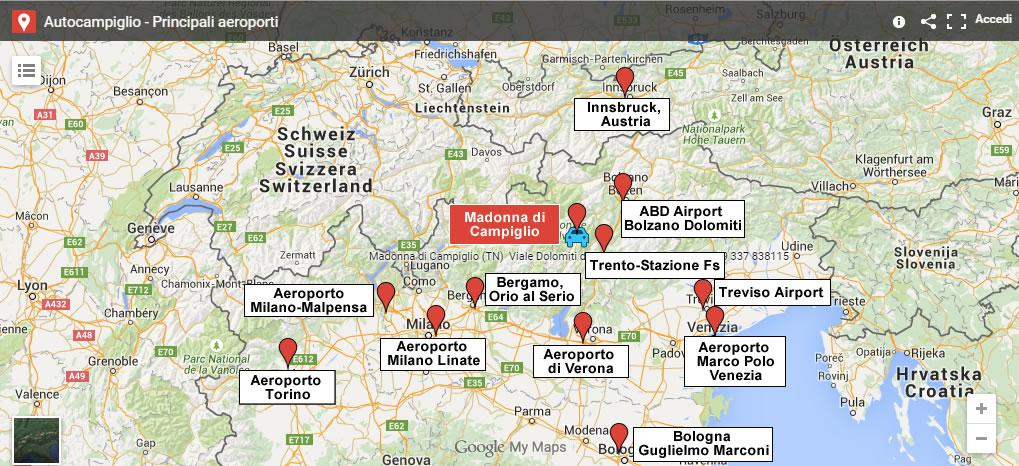 Mappa transfert Auto Campiglio